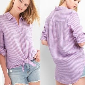 L GAP Pink Striped Linen Oversize Boyfriend Shirt